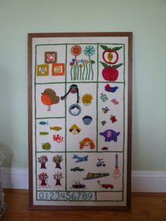 Vintage child embroidered sampler wall decor by VintageRetroFunk, $30.00