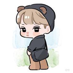 Exo Cartoon, Kai Arts, Chibi Body, Exo Anime, Exo Fan Art, Exo Kai, Stickers, Cute Art, Haikyuu
