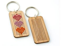 DIY cross-stitch key chain kit from Red Gate Stitchery. Sweet.