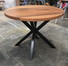 Recycled messmate dining table with black cross metal legs made by www. Industrial Round Dining Table, Metal Leg Dining Table, Black Round Dining Table, Round Farmhouse Table, Small Round Kitchen Table, Rustic Kitchen Tables, Scandinavian Dining Table, Modern Farmhouse Table, Wooden Dining Tables