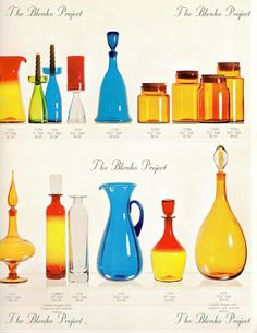 The Blenko Project is dedicated to recording the past, analyzing the present and being an advocate for the growth and preservation of BLENKO GLASS. Blenko Glass, Mid Century Modern Design, Hot Sauce Bottles, Rainbow Colors, Preserves, Mid-century Modern, Glass Art, The Past, Projects