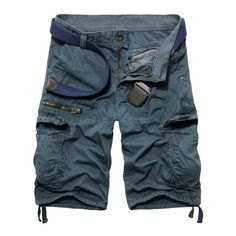20.57$ Buy now - http://di0or.justgood.pw/go.php?t=182385422 - Men's Fashion Zip Design Solid Color Cargo Shorts
