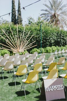 A retro-inspired ceremony altar with an art-deco wooden starburst backdrop. Wedding Ceremony Ideas, Wedding Altars, Ceremony Backdrop, Wedding Themes, Wedding Designs, Wedding Decorations, Ceremony Seating, Wedding Photos, Altar Decorations