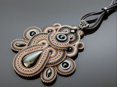 Gray and light pink Soutache necklace with Hematite. by ANBijou