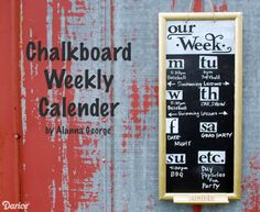 DIY Calendar: Make Your Own Weekly Chalkboard Schedule using Stencil Mask Letters from Hazel&Ruby. I love these letter masks, makes lettering so easy!
