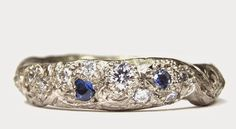 Katherine Bowman 18ct white gold 'Precious' ring with diamonds and sapphires