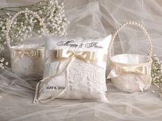 Flower Girl Basket & Ring Bearer Pillow Set Bowl by 4LOVEPolkaDots