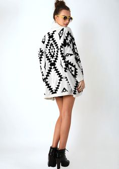 Aztec Open Knit Cardigan - Outers - Retro, Indie and Unique Fashion