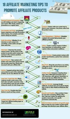 Affiliate marketing is a great way o earn passive income.  If you want to be more active in promoting your affiliate links here are a few ideas #Infographic www.socialmediamamma.com