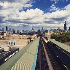 #wild #blue #yonder. #supermario #clouds over #Chicago. #cta #ashland #station #summer in #chitown #bytrain
