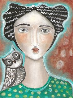 Mixed Media Painting Print  Whimsical Owl