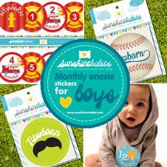 Adorable Boy Monthly Onesie stickers available at SunshineBabies on Etsy