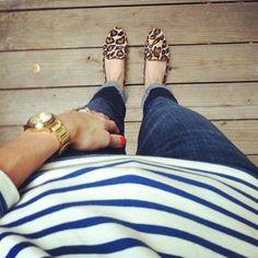 stripes + golden watch + red finger tips + jeans + leopard flats