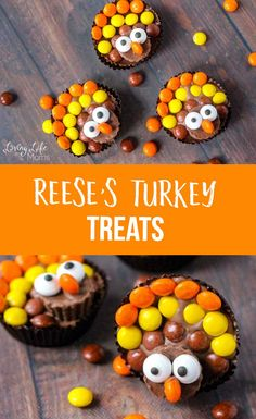 A tutorial on how to make these super cute Reese's turkey treats. They are the perfect treat to make on Thanksgiving Day while making your little ones happy. Your family will love these peanut butter chocolate treats. #Thanksgiving #turkey #chocolate #dessert #kidssnacks #LivingLifeasMoms