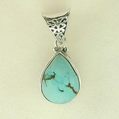 Turquoise pendant - Silver jewelry - Jewel of the Lotus $140