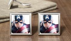 Captain America Gift Cufflinks Captain America by OurCufflinkShop Superhero Cufflinks, Wonderful Things, Captain America, Avengers, In This Moment, Create, Handmade Gifts, Etsy, Beautiful