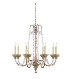 Visual Comfort CHC1543BW-SG E. F. Chapman Flanders Small Chandelier in Belgian White with Seeded Glass Beads | ShopVisualComfortLights.com