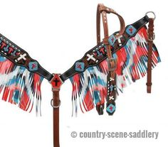 Showman ® Single ear headstall and breast collar set with fringe.