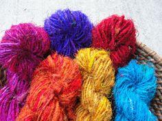 10.5 oz 300gm of Recycled Sari Silk Yarn by @Amber Threads on Etsy