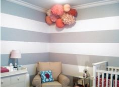 LOVE these gray stripes - I just can't decide if I want them on one wall, or three walls with one wall of all gray....