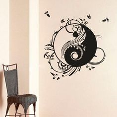 WALL ART STICKER VINYL DECAL  MURAL abstraction symbol balance yin yang  DA2011 #MuralArtDecals
