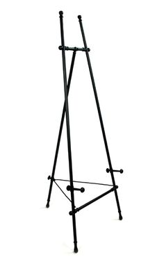 Antique Easel.  The unassuming finials offer a subtle touch of elegance - not too much, not too plain. Each support shelf can be adjusted to balance perfectly with the work being displayed. Featuring our exclusive saddle joint construction and rear leg lock system (patents pending) this display easel offers heft and style that you won't find in comparable easels elsewhere. Carefully designed for usability and stablilty, this easel also comes with a lifetime structural warranty.