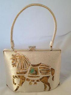 Vintage Metallic Lame Painted Horse Accordion Bag