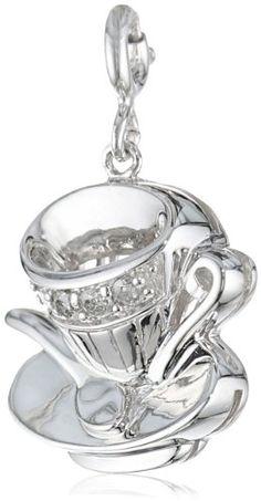Sterling Silver Diamond Tea Cup Charm (1/10 cttw) - http://fashion.designerjewelrygalleria.com/charms/diamond-charms/sterling-silver-diamond-tea-cup-charm-110-cttw/