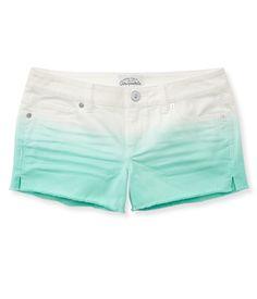 Colored Gradient Denim Shorty Shorts - Aeropostale