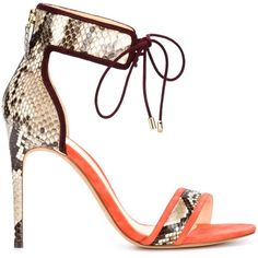 Alexandre Birman Ankle Strap Stiletto Sandals ($795) ❤ liked on Polyvore featuring shoes, sandals, grey, high heels stilettos, colorful sandals, ankle wrap sandals, snakeskin sandals and ankle strap shoes