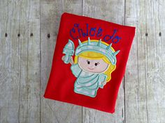 Americana Independence Day 4th of July Statue of Liberty Embroidery Applique Memorial Day Veterans Day Red White Blue Personalized Shirt made by Lisa's Little Lovelies