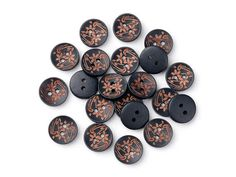 6 black wooden button  brown flowers pattern 15mm BB120FB