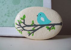 Little Blue Bird Stone by CheeryGiftsAndDecor on Etsy, $10.00