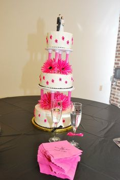 Wedding cake! Hot pink gerbera daisies!