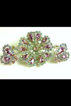 Lime green & pinks earrings & brooch