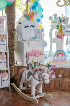 Loving the pinata and decorations at this Unicorn Birthday Party!! See more party ideas and share yours at CatchMyParty.com #catchmyparty #unicornbirthdayparty #pinata #partydecorations #girlbirthdayparty
