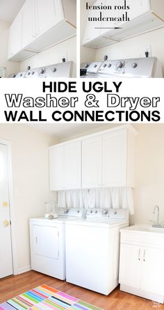 How to hide the unsightly washer and dryer wall connections behind a washer and dryer in your laundry room. | In My Own Style