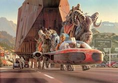 Ralph McQuarrie - Cool promotional illustration for Star Wars