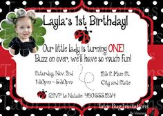 Personalized lady bug invitation for first birthday