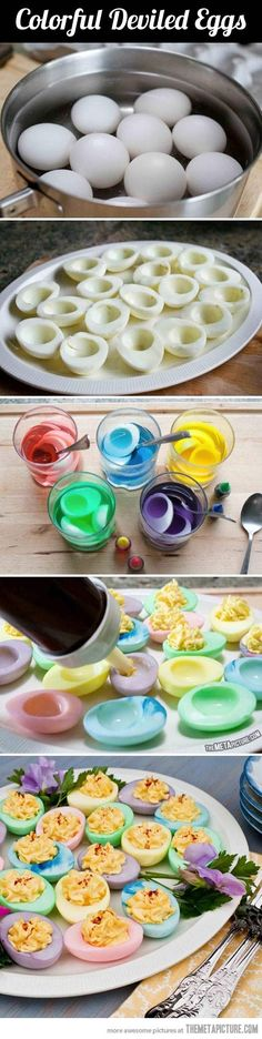 Colorful deviled eggs…I NEED TO DO THIS!!