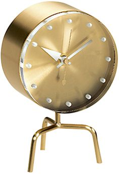 Vitra George Nelson Tripod Mantle Clock, Gold
