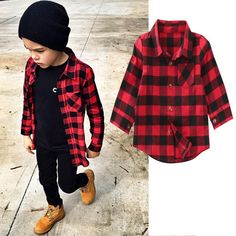Cute Baby Kids Boys Girls Long Sleeve Shirt Plaids Checks Tops Blouse 2017 New Fashion Clothes fashionpurses Little Kid Fashion, Toddler Boy Fashion, Little Boy Outfits, Toddler Boy Outfits, Plaid Shirt Outfits, Outfits Niños, Baby Boy Outfits, Kids Outfits, Cheap Outfits