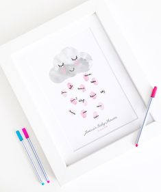 Personalised / Customised Baby Shower Fingerprint Guest Book - Happy Little Rain Cloud - Nursery Decor Print by BowAndBell on Etsy https://www.etsy.com/uk/listing/466810688/personalised-customised-baby-shower