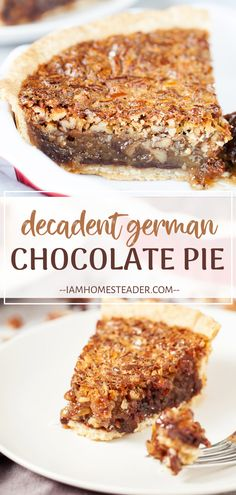 German Chocolate Pie is a completely decadent dessert! Atop a bed of chocolate chips lies a thick, chewy, and crunchy layer of coconut and pecans. Surprise your Valentine with this divine homemade treat! Pin this Valentine's Day food idea for later! Brownie Desserts, Oreo Dessert, Mini Desserts, Coconut Dessert, German Desserts, Easy Chocolate Desserts, Vegetarian Chocolate, Chocolate Recipes, Easy Desserts