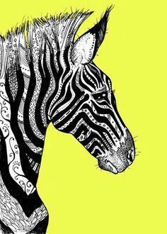 Sort of 'Zentangle' zebra - line design! Zebra Kunst, Zebra Art, Illustrations, Illustration Art, Wow Art, Monochrom, Art Plastique, African Art, Doodle Art