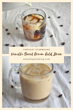 3 minutes · Serves 3 · If you love cold brew and you love Starbucks, check out this easy and quick copycat Starbucks vanilla sweet cream cold brew coffee recipe. It tastes just like Starbucks but made at home. Coffee Drink Recipes, Starbucks Recipes, Starbucks Iced Vanilla Latte Recipe, Starbucks Drinks, Starbucks Sweet Cream, Sweet Cream Recipe For Coffee, Vanilla Sweet Cream Recipe, Cold Brew Coffee Recipe Starbucks, Homemade Cold Brew Coffee