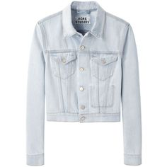 Acne Studios Tag Spray Vintage Denim Jacket (€285) ❤ liked on Polyvore featuring outerwear, jackets, tops, coats & jackets, cotton jacket, acne studios, vintage jackets, blue denim jacket and light blue jacket