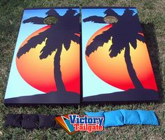 Cornhole Boards -- Palm Trees and Sunset