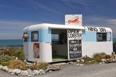 Nins Bin Lobster Caravan, Kaikoura Coast, Marlborough, South Island, New Zealand New Zealand Food, New Zealand Houses, New Zealand Travel, Nz South Island, New Zealand South Island, Kiwiana, Auckland, Recreational Vehicles, Places Ive Been