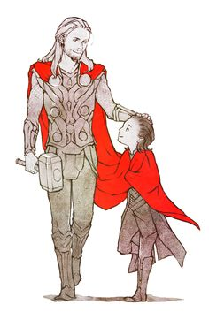 Thor with Narvi (Yes I know it's kid!Loki. I'm ignoring that.)